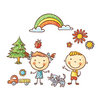 Ilustrovaný obrázek dvou dětí s duhou, autíčkem, kočkou, beruškou a stromem