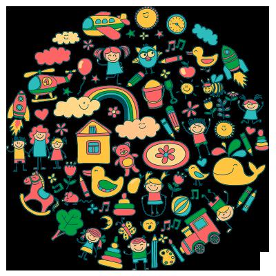 ilustrovaný obrázek zobrazující postavičky, věci, zvířata, hračky
