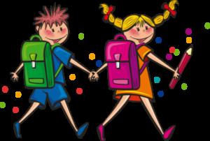 kresba dětí jdoucí k zápisu do školky